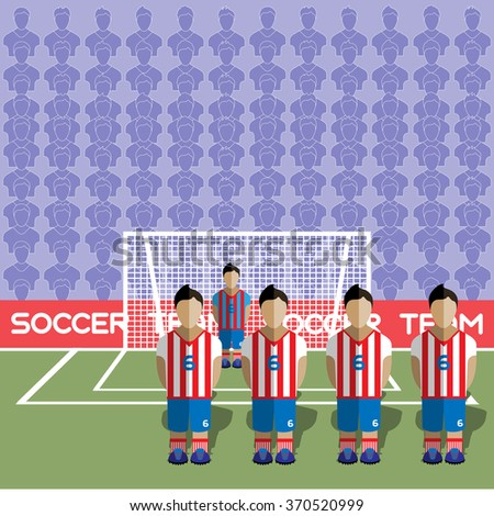 Paraguay Football Club Soccer Players Silhouettes. Computer game Soccer team players big set. Sports infographic. Football Teams in Flat Style. Goalkeeper Standing in a Goal. Raster illustration. - stock photo