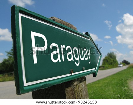 Paraguay signpost along a rural road - stock photo