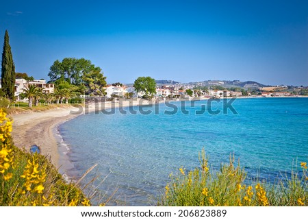 Paralia Fourkas beach on Kassandra peninsula, Halkidiki,  Greece. - stock photo