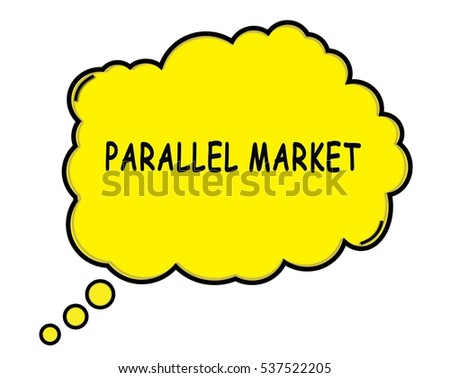 PARALLEL MARKET speech thought bubble cloud text yellow.