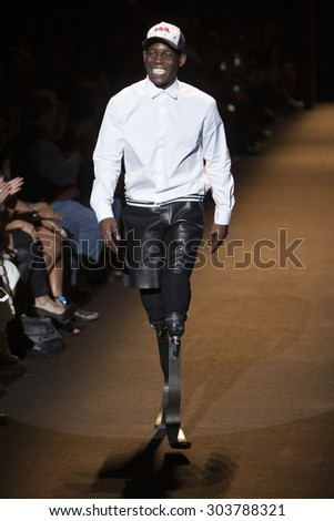 Paralympic Athlete Blake Leeper  walk the runway for Fashion for Relief Show during Mercedes Benz Fashion Week Fall Winter in New York City on February 14, 2015 - stock photo