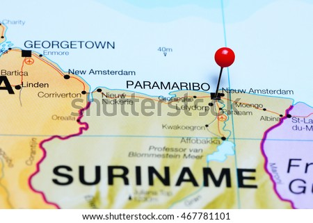Paramaribo pinned on a map of Suriname