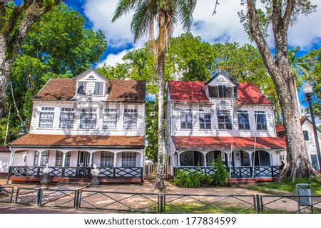 PARAMARIBO, SURINAME - NOV 7, 2013: Architecture of the historic city of Paramaribo, Suriname. The historic inner city of Paramaribo is a UNESCO World Heritage Site since 2002.