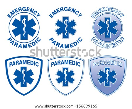 Paramedic Medical Designs is an illustration of six emergency paramedic designs with star of life medical symbols. - stock photo