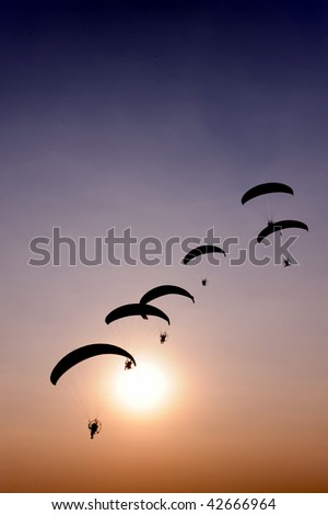Paramotors on Sunset