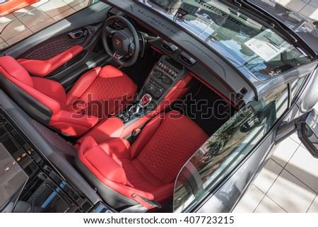 Paramus,NJ - April 7 2016: At a free local car show, the beautiful interior of the new Lamborghini Huracan Spyder. - stock photo
