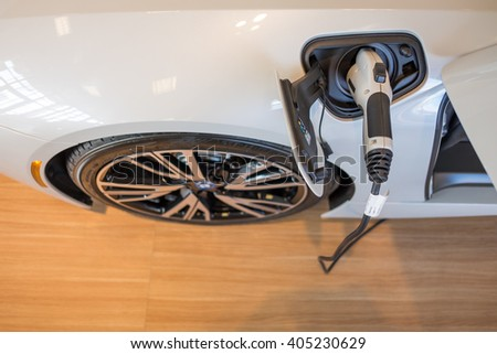Paramus,NJ - April 7 2016: At a free local car show, the charging port of the new BMW i8. - stock photo