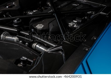 Paramus,NJ - June 18th 2016 - The engine bay of the Lamborghini Aventador. This one has a special carbon fiber upgrade.