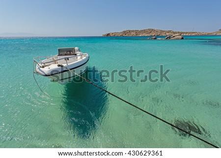 Paranga Beach on the island of Mykonos, Cyclades Islands - stock photo