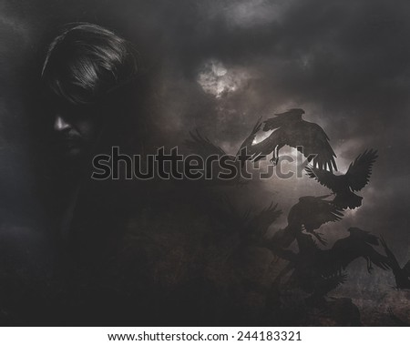 Paranormal, man with long hair and black coat - stock photo