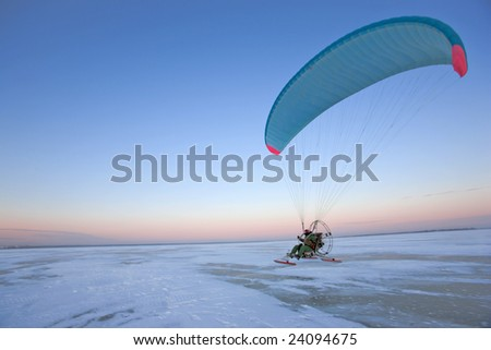 Paraplane taking off - stock photo