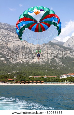 Parasailing in Turkey, Kemer - stock photo