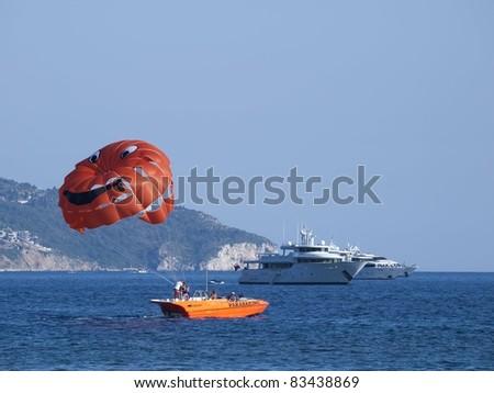 Parasailing on adriatic sea - stock photo