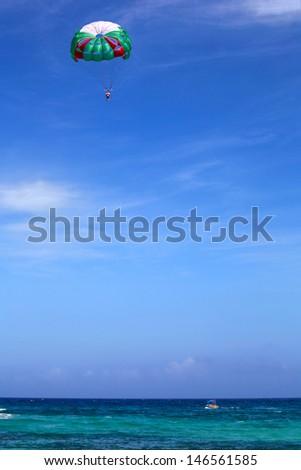 Parasailing on the beach, Riviera Maya - stock photo