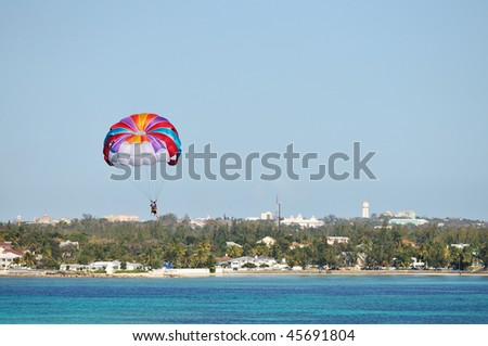 parasailing over the Caribbean sea