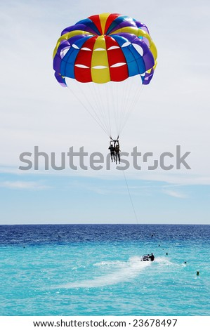 Parasailing over the Mediterranean sea. Nice, France