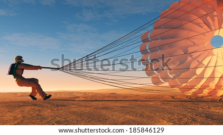 Parashutist a parachute in the sky. - stock photo