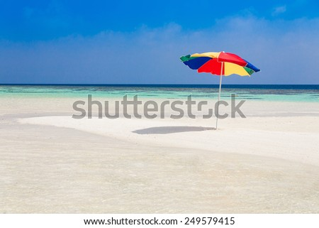 parasol  in sea tropical  Maldives  romantic  atoll island paradise luxury  resort about coral reef amazing  fresh  freedom snorkel adventure - stock photo