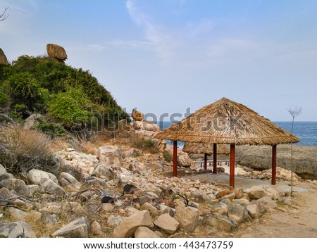Parasols at a Hang Rai beach of Ninh Thuan province, VietNam