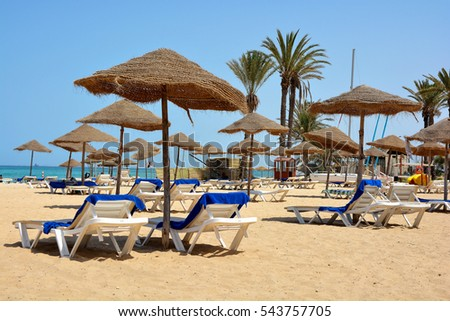 Parasols on the beach in Sousse.Tunisia