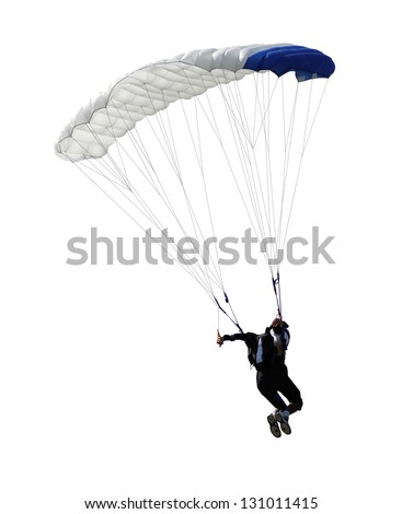 paratrooper parachute jump in isolated - stock photo