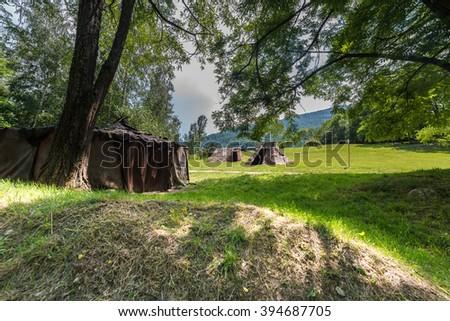 Parc de la Prehistoire in Tarascon-sur-Ariege, Ariege, Midi-Pyrenees, southern France. - stock photo