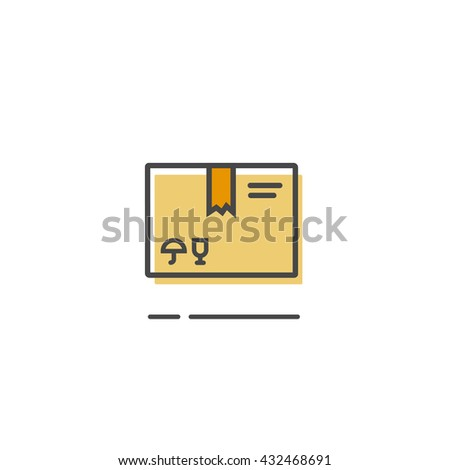 Parcel box icon isolated, closed simple flat parcel package box outline line style image - stock photo