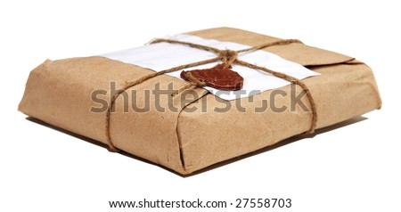 parcel isolated on white - stock photo