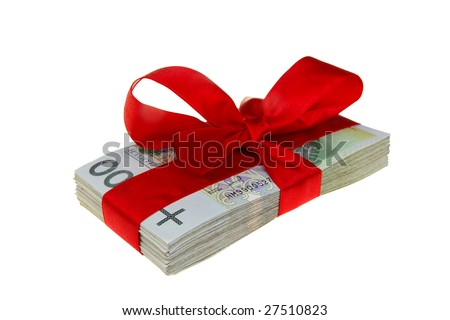 parcel of Polish money as a gift isolated on white