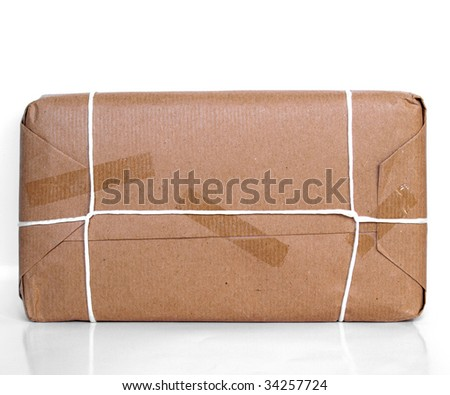Parcel packet over a white background with reflection