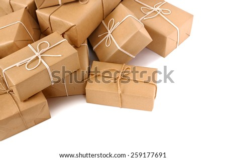 Parcel : Untidy pile of brown package, isolated - stock photo