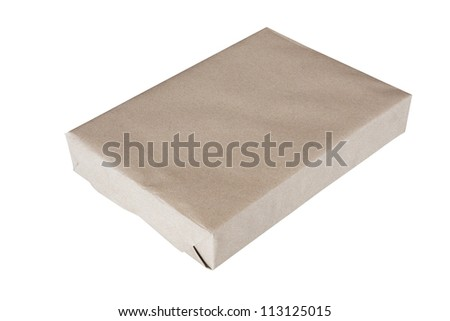 Parcel wrapped in brown paper and tied with rough twine and blank label, isolated on white background. - stock photo