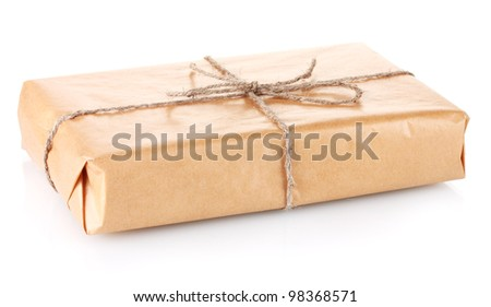 Parcel wrapped in brown paper tied with twine isolated on white
