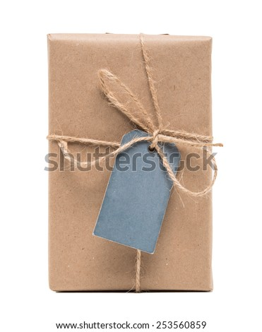 parcel wrapped packaged box with label isolated on white background