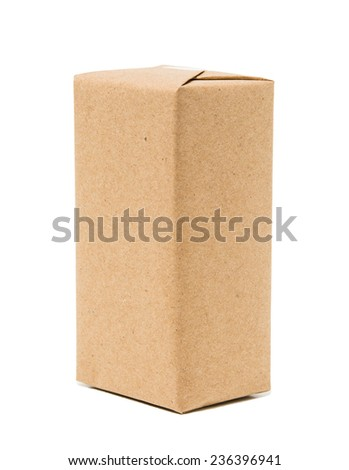 Parcel wrapped with brown kraft paper - stock photo
