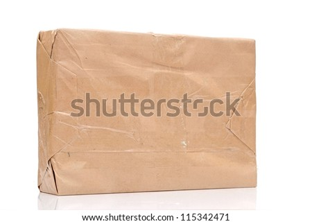 parcel wrapped with brown paper isolated on white background - stock photo
