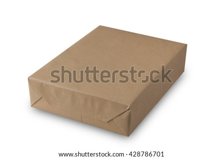 parcel wrapped with brown paper isolated on white background,selective focus - stock photo