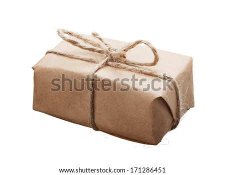 Parcel wrapped with kraft paper and rough twine isolated on white