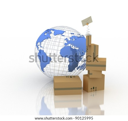 parcels and Earth globe - stock photo