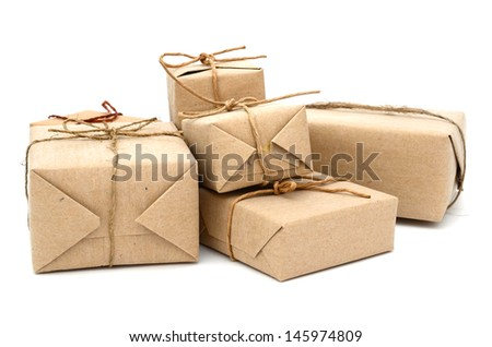parcels boxes with recycling paper, isolated on white