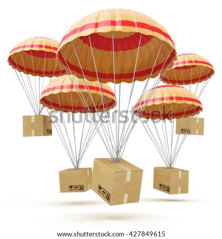 parcels flying down from sky with parachutes, concept for delivery service isolated on white background. 3d illustration - stock photo