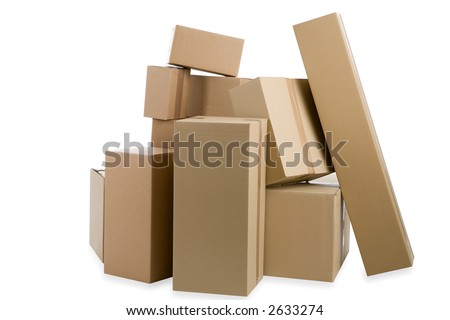 parcels  isolated on white background - stock photo