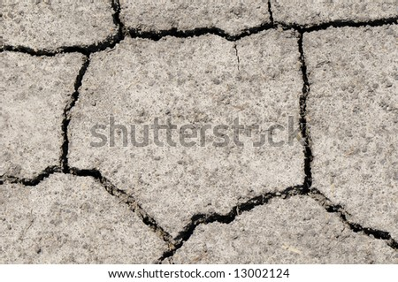 Parched, cracked soil in drought area - stock photo
