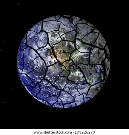 Parched planet earth signifying environmental problems and issues. Elements of this image used with permission from NASA imagery. - stock photo