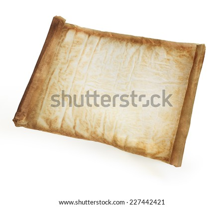 Parchment background isolated on white - stock photo