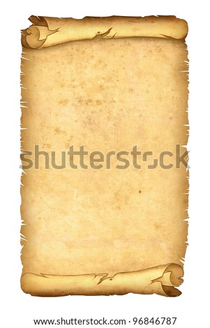 parchment papyrus scroll illustration isolated on white background