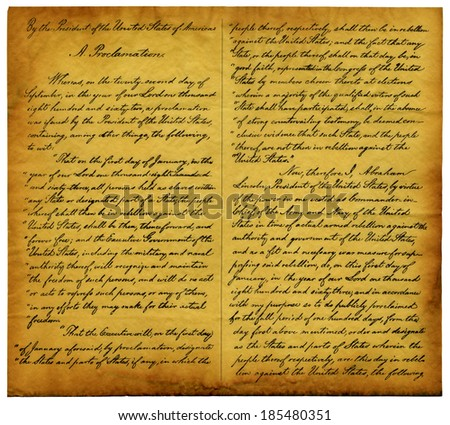 Parchment replica of page one of the Emancipation Proclamation which President Abraham Lincoln issued on Jan. 1, 1863. The proclamation freed slaves held in states that seceded from the Union. - stock photo