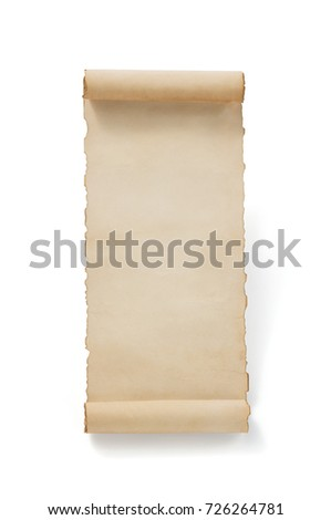 parchment scroll paper isolated at white background