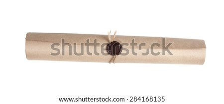Parchment scroll with a wax seal on a white background - stock photo