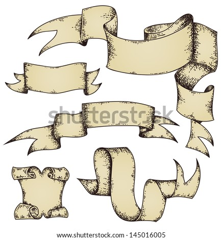 Parchment scrolls and ribbons banners set. For the vector file please search in the portfolio. - stock photo